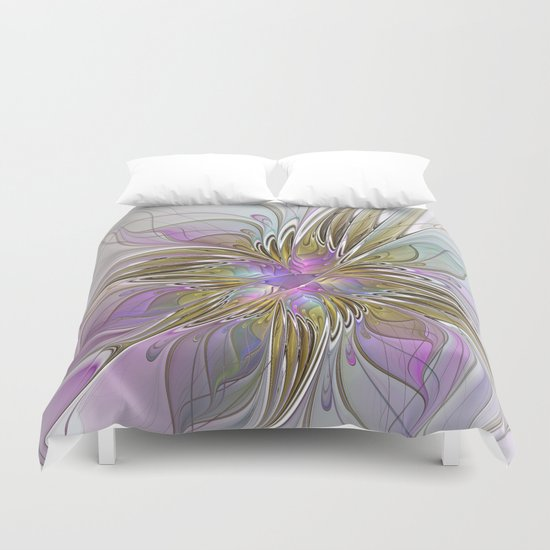 Flourish, Abstract Fractal Art Flower Duvet Cover