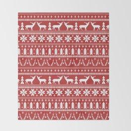 Deer christmas fair isle camping pattern snowflakes minimal winter seasonal holiday gifts Throw Blanket
