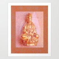 budi satria kwan Art Prints featuring Rose-Bronze Kwan Yin by Jan4insight