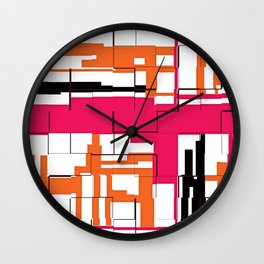 CREATIVE ART PRINT WITH ORANGE, BLACK AND PINK Wall Clock