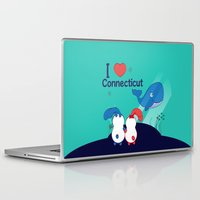 coraline Laptop & iPad Skins featuring Ernest and Coraline | I love Connecticut by Hisame Artwork