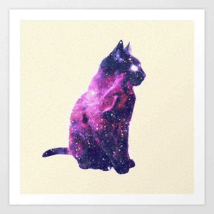 Whimsical Purple Nebula Cat Pink Galaxy Stars Art Print By