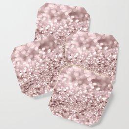 Sparkling Rose Gold Blush Glitter #1 #shiny #decor #art #society6 Coaster