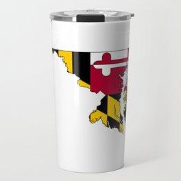 Map of Maryland with Maryland State Flag Travel Mug