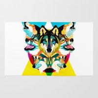 wolves Area & Throw Rugs featuring wolves by Alvaro Tapia Hidalgo