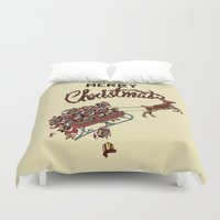 pugs Duvet Covers featuring Pugs Christmas by Huebucket