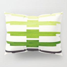 Ancient Aztec Inca Geometric Pattern Watercolor Sap Green Colorful Gouache Painting Pillow Sham