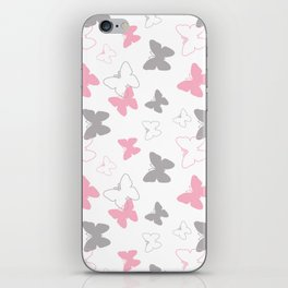 Pink Gray Butterfly iPhone Skin