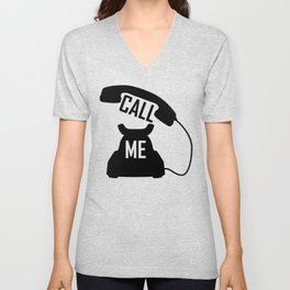 Cool Black Call me Vintage Retro telephone Unisex V-Neck