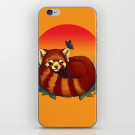 Red Panda Has Blue Butterfly Friend iPhone Skin