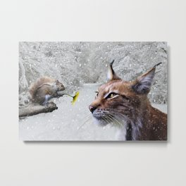 Lynx and Squirrel Metal Print