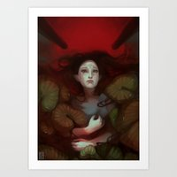dragon age Art Prints featuring Dragon Age: Blood Lotus by mureh