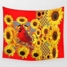 RED CARDINAL BIRD YELLOW SUNFLOWERS  ABSTRACT Wall Tapestry
