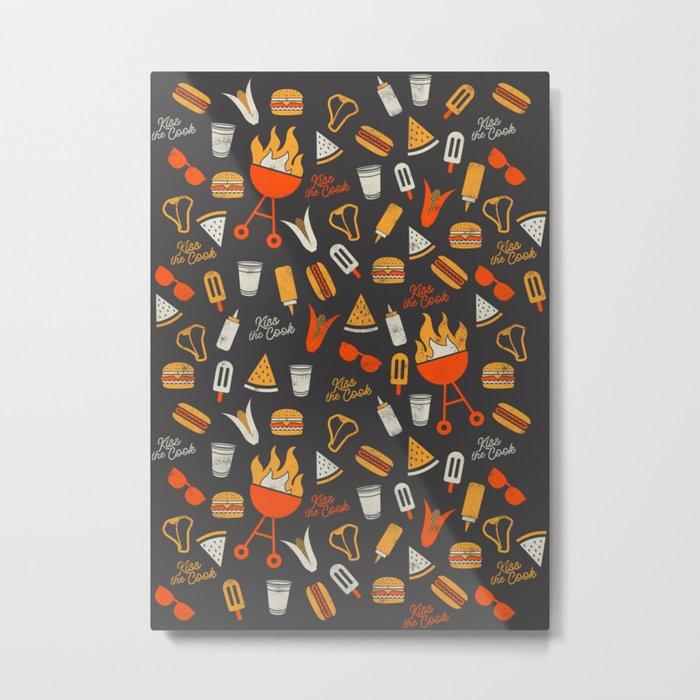 Kiss the Cook BBQ Pattern Metal Print