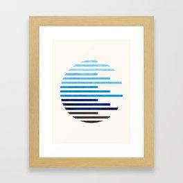 Mid Century Modern Minimalist Circle Round Photo Prussian Blue Staggered Stripe Pattern Framed Art Print