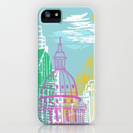 WPA Style Downtown (Detroit) Illustrated Print  iPhone Case