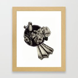 crystals and flowers Framed Art Print