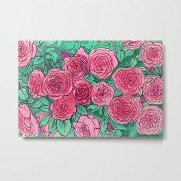 Pink Roses, Rose Garden Flowers, Vintage Bloom  Floral Sketch Metal Print