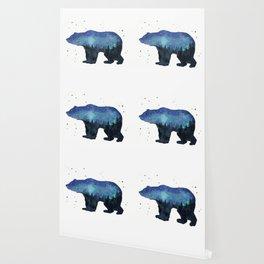 Forest Bear Silhouette Watercolor Galaxy Wallpaper
