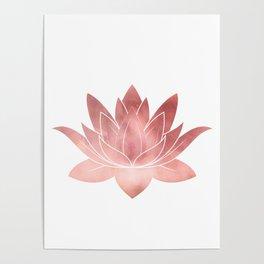 Pink Lotus Flower | Watercolor Texture Poster