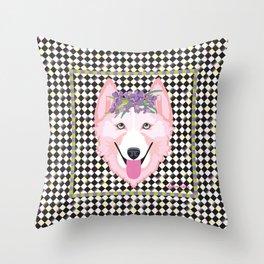 Harlequin Husky Throw Pillow