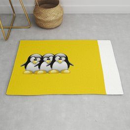 Linux Tux penguins friends Rug