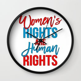 Women's rights are human rights Red Blue, Women's marches Wall Clock
