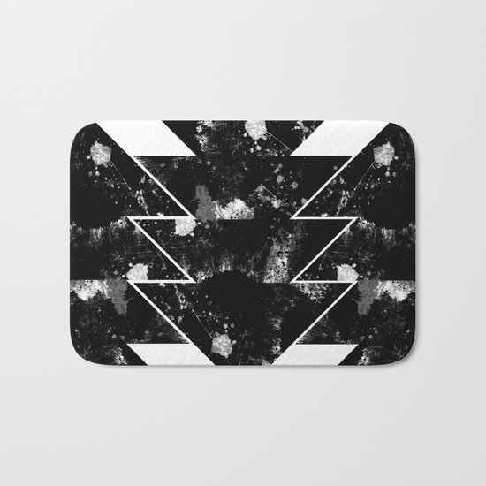 Up And Down - Black and white textured triangles, geometric, abstract Bath Mat