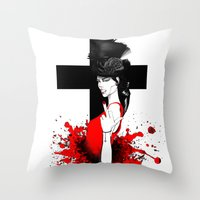 religion Throw Pillows featuring BAD RELIGION by Anna d'Ark