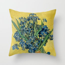 Still Life: Vase with Irises Against a Yellow Background Throw Pillow