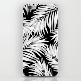 Palm Tree Fronds White on Black Hawaii Tropical Décor iPhone Skin