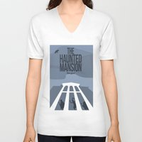 haunted mansion V-neck T-shirts featuring The Haunted Mansion by Minimalist Magic - Art by Tony Sherg