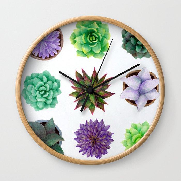 Succulent Friends Wall Clock