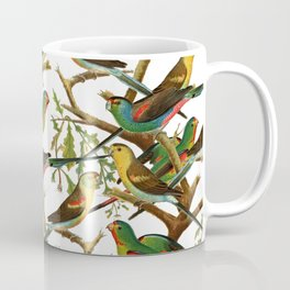Colorful red green tropical birds parakeets pattern Coffee Mug