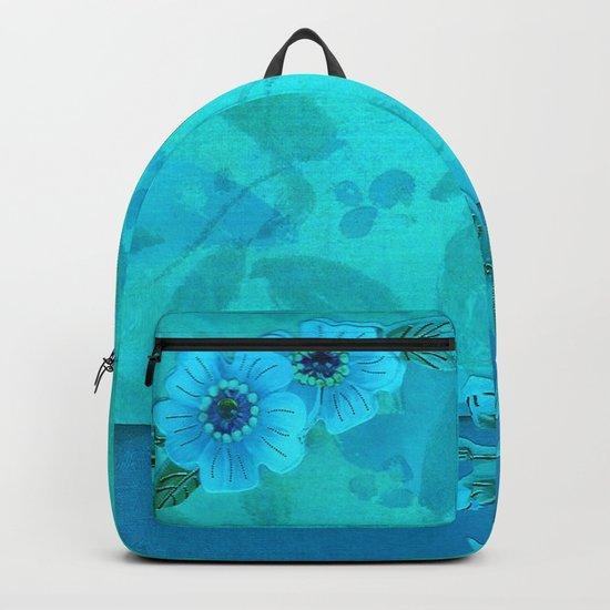 Teal paper flowers Backpack