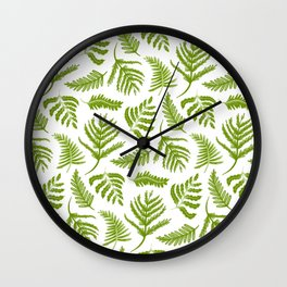 Green Fern Patttern Wall Clock