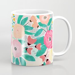 Modern brush paint abstract floral paint Coffee Mug