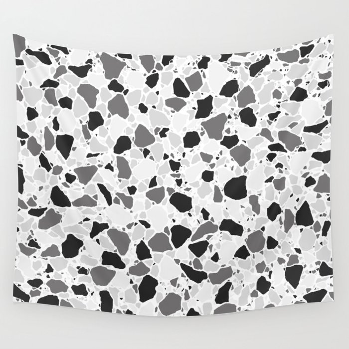 Monochrome Terrazzo Flooring Pattern Digital Illustration Wall Tapestry By Leavector