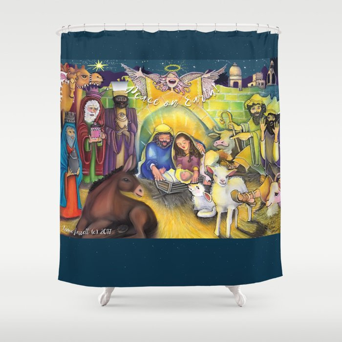 Peace On Earth Nativity Shower Curtain By Doodlesoffun