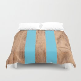 Wood Grain Stripes - Light Blue #807 Duvet Cover