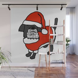 Cute dog dressed in a Santa suit, Santa hat and white beard Wall Mural