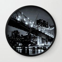 New York Night Black & White Wall Clock