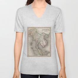 Vintage Map of The Burmese Empire (1832) Unisex V-Neck