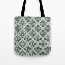 Turquoise and brown damask pattern Tote Bag