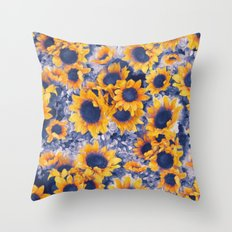 Sunflowers Blue Throw Pillow