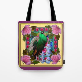 YELLOW-PUCE  PURPLE & PINK ROSES GREEN PEACOCK FLORAL Tote Bag