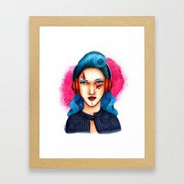 Janie - The Girl with Headphones Framed Art Print