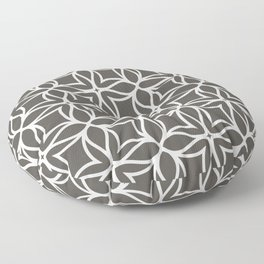 Brown and White Line Art Flower Petal Pattern 2021 Color of the Year Urbane Bronze Extra White Floor Pillow