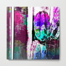 cactus with wood background in painting texture abstract in pink purple green blue Metal Print