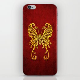 Intricate Red and Yellow Vintage Tribal Butterfly iPhone Skin